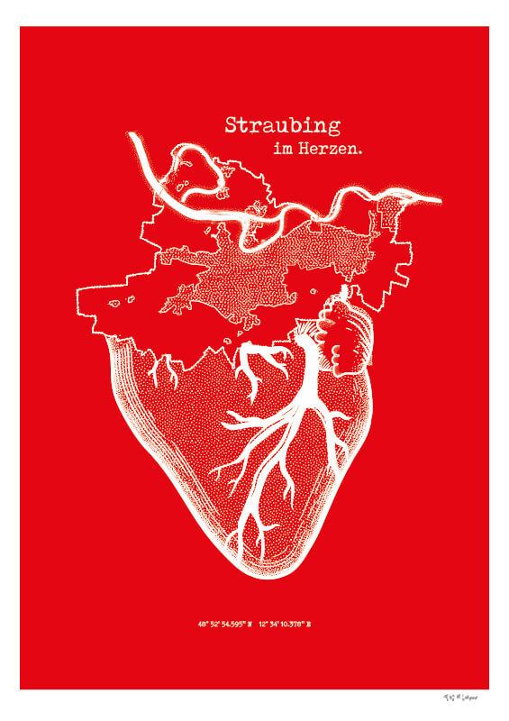 Straubing im Herzen Siebdruck (© grafinesse)