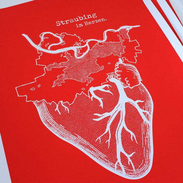 Straubing im Herzen Siebdruck – Detailansicht